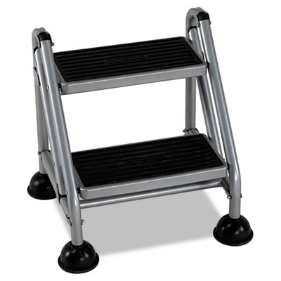 Rolling commercial step stool, 2-step, 19 7/10 spread, platinum/black, sold as 1 each