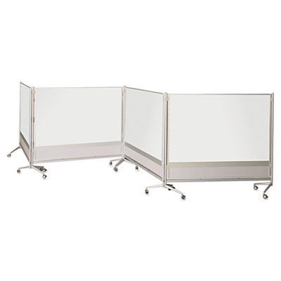 D.o.c. mobile double-sided marker board divider, 72 x 72, silver, sold as 1 each