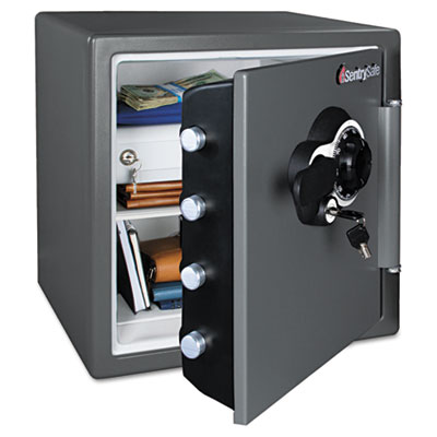 Combination water/fire resistant safe, 1.23 ft3, 16 3/8 x 19 3/8 x 17 7/8, gray, sold as 1 each
