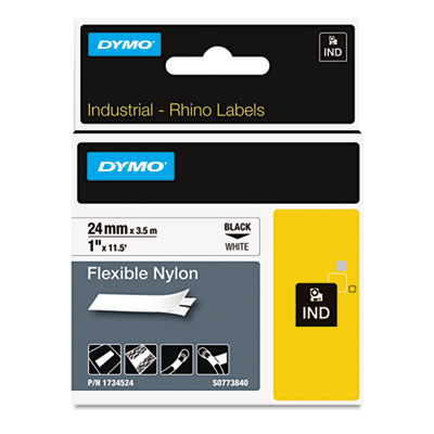"Rhino flexible nylon industrial label tape, 1"" x 11 1/2 ft, white/black print, sold as 1 roll"
