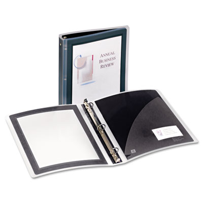 "Flexi-view binder w/round rings, 11 x 8 1/2, 1 1/2"" cap, black, sold as 1 each"