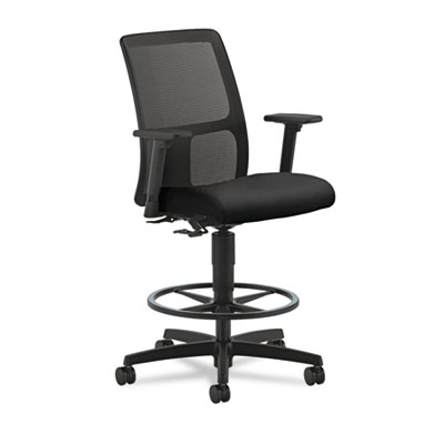 Ignition series mesh low-back task stool, black fabric upholstered seat, sold as 1 each