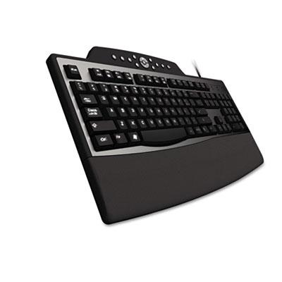 Pro fit comfort keyboard, internet/media keys, wired, black, sold as 1 each