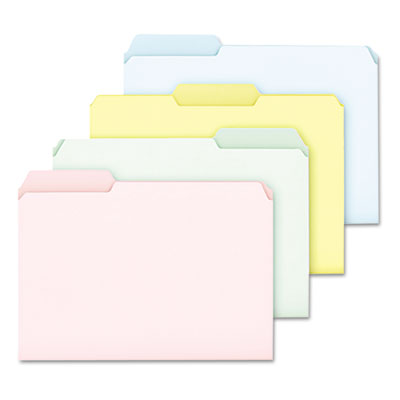 Pastel color file folders, 1/3 cut top tab, letter, assorted, 100/box, sold as 1 box, 100 each per box