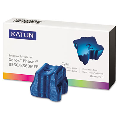 Kat37991 phaser 8560 compatible, 108r00723 solid ink, 3400 yld, 3/box, cyan, sold as 1 box, 3 each per box