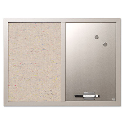 Combo bulletin board, bulletin/dry erase, 24x18, gray frame, sold as 1 each