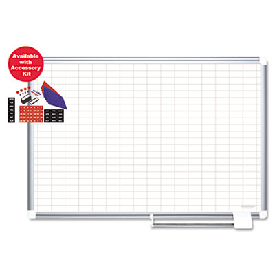 "Grid planning board w/ accessories, 1x2"" grid, 36x24, white/silver, sold as 1 each"