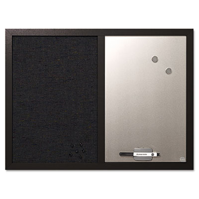 Combo bulletin board, bulletin/dry erase, 24x18, black frame, sold as 1 each