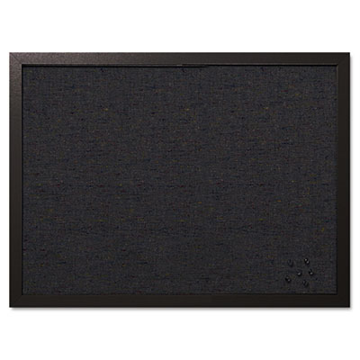 Designer fabric bulletin board, 24x18, black fabric/black frame, sold as 1 each