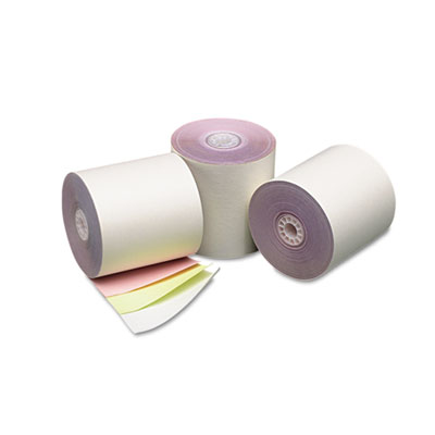 "Three ply cash register/pos rolls, 3"" x 70 ft., white/canary/pink, 50/carton, sold as 1 carton, 50 roll per carton"