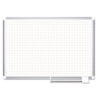 "Grid planning board, 1"" grid, 72x48, white/silver, sold as 1 each"