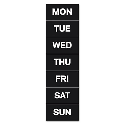 "Calendar magnetic tape, days of the week, black/white, 2"" x 1, sold as 1 package"