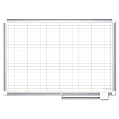 "Grid planning board, 1x2"" grid, 72x48, white/silver, sold as 1 each"