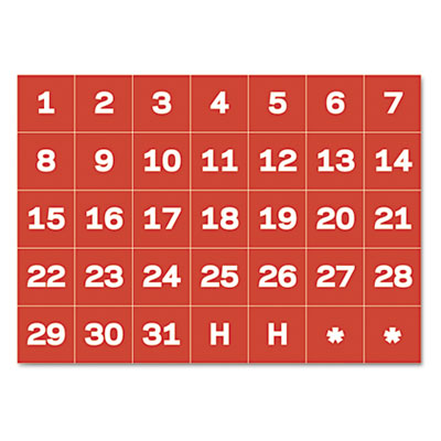 "Calendar magnetic tape, calendar dates, red/white, 1"" x 1, sold as 1 package"