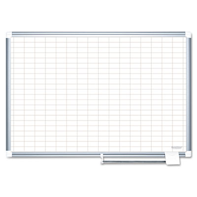 "Grid planning board, 1x2"" grid, 36x24, white/silver, sold as 1 each"
