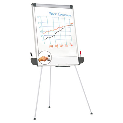 Tripod style dry erase easel, 29 x 41, white/gray, sold as 1 each