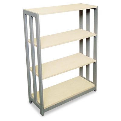Trento line bookcase, three-shelf, 31-1/2w x 11-5/8d x 43-1/4h, oatmeal, sold as 1 each