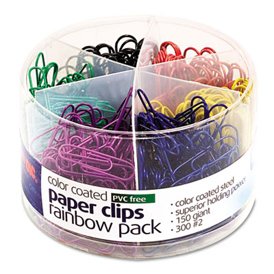 Plastic coated paper clips, assorted colors, 300 small clips, 150 giant clips, sold as 1 package
