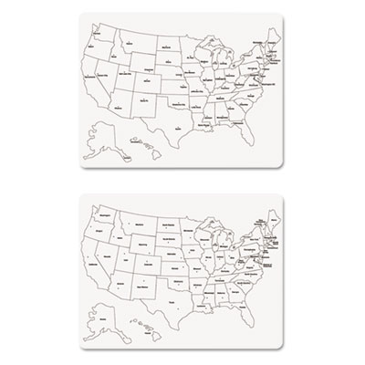 Two-sided u.s. map whiteboard, 24 x 18, sold as 1 package
