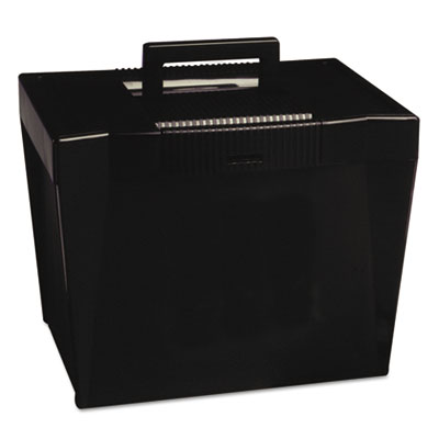 Portable file storage box, letter, plastic, 13 1/2 x 10 1/4 x 10 7/8, black, sold as 1 each
