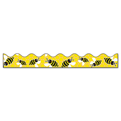 "Bordette bee dazzle design decorative border, 2 1/4"" x 25ft, black/white/yellow, sold as 1 roll"