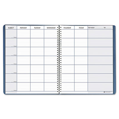 Teacher's planner, embossed simulated leather cover, 11 x 8-1/2, blue, sold as 1 each
