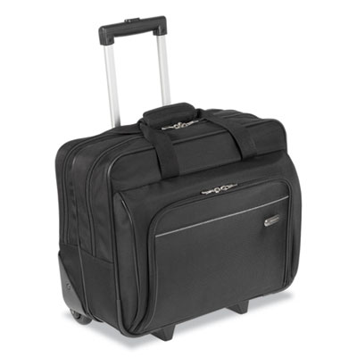Rolling laptop case, 1200d polyester, 16-1/2 x 7-1/2 x 14, black, sold as 1 each