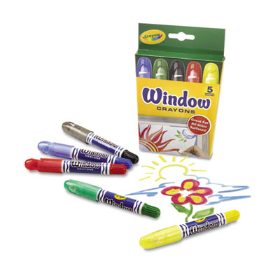Washable window crayons, 5/set, sold as 1 set