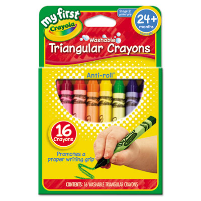 My first washable triangular crayons, wax,16/set, sold as 1 set