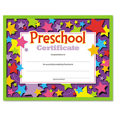 Colorful classic certificates, preschool certificate, 8 1/2 x 11, 30 per pack, sold as 1 package