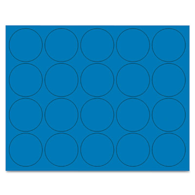 """Interchangeable magnetic characters, circles, blue, 3/4"""" dia., 20/pack, sold as 1 package"""