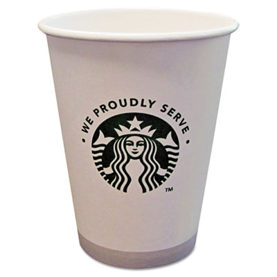 Hot cups, 12oz, white with green logo, 1000/carton, sold as 1 carton, 1000 each per carton