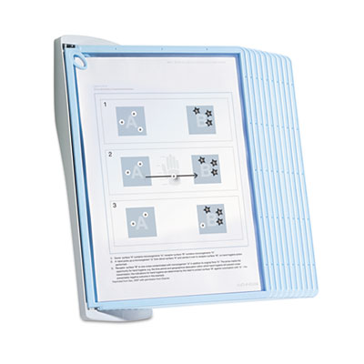 Sherpa style desk reference system, 20 sheet capacity, blue/gray, sold as 1 each