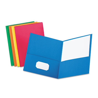 Twin-pocket folder, embossed leather grain paper, assorted colors, sold as 1 box, 25 each per box