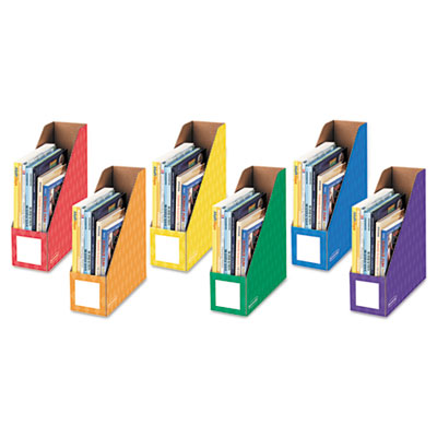 Cardboard magazine file, 4 1/4 x 12 1/4 x 13, assorted, 6/pk, sold as 1 package