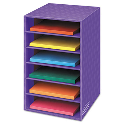 Vertical classroom organizer, 6 shelves, 11 7/8 x 13 1/4 x 18, purple, sold as 1 each
