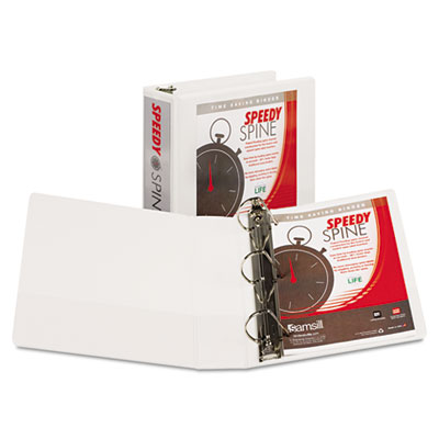 "Speedy spine heavy-duty d-ring view binder, 11 x 8 1/2, 3"" cap, white, sold as 1 each"
