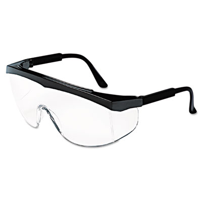 Stratos safety glasses, black frame, clear lens, sold as 1 box, 12 each per box