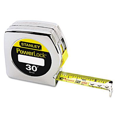 "Powerlock tape rule, 1"""" x 30ft, plastic case, chrome, 1/16"""" graduation, sold as 1 each"