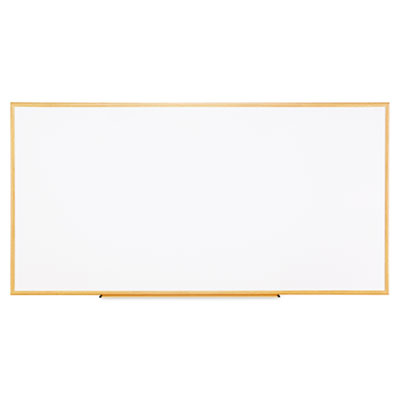 Dry-erase board, melamine, 96 x 48, white, oak-finished frame, sold as 1 each