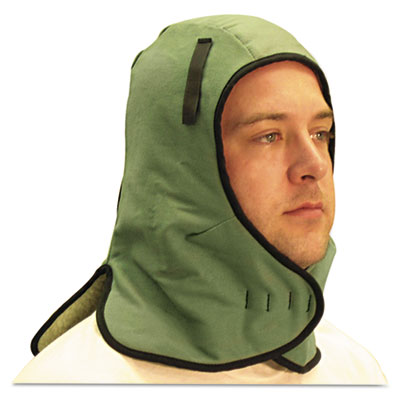 Extra large neck flap winter liner, twill, one size fits all, light green, sold as 1 each