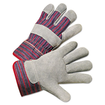 Leather palm work gloves, gray/blue/white, 12 pairs, sold as 12 pair