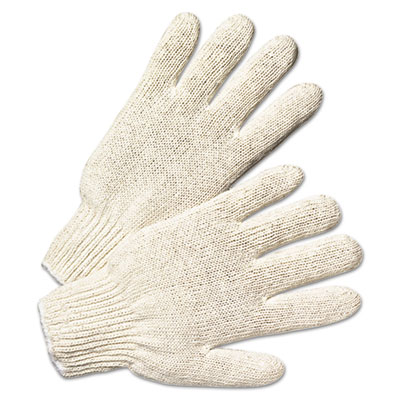 String knit gloves, natural white, 12 pairs, sold as 1 package