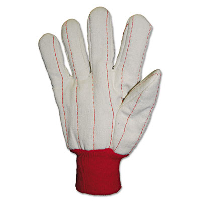Heavy canvas gloves, white/red, 12 pairs, sold as 12 pair