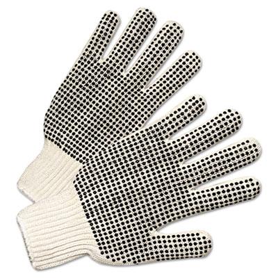 Regular-weight pvc-dot string-knit gloves, sold as 12 pair