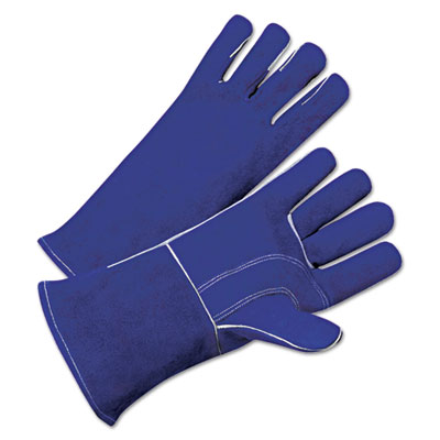 Leather welder's gloves, gauntlet cuff, large, sold as 12 pair