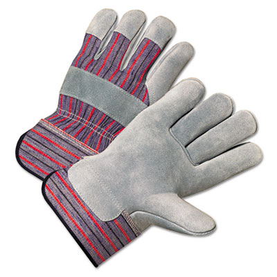 2000 series leather palm gloves, gray/red, 12 pairs, sold as 1 package