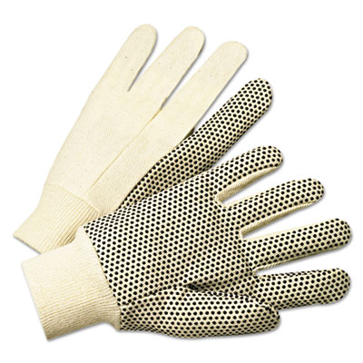 Pvc-dotted canvas gloves, white, one size fits all, 12 pairs, sold as 12 each
