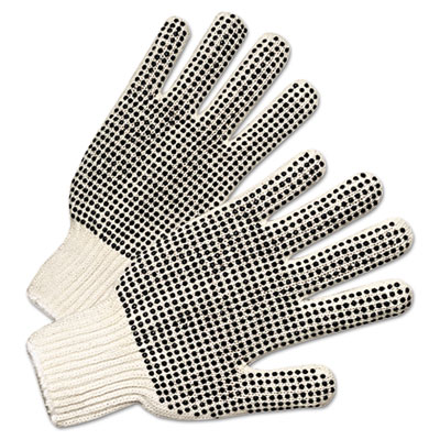 Pvc-dotted string knit gloves, natural white/black, 12 pairs, sold as 12 each