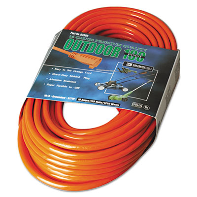 Vinyl extension cord, 100ft, awg 16/3, sjtw-a, orange, sold as 1 each